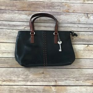 Fossil leather handbag